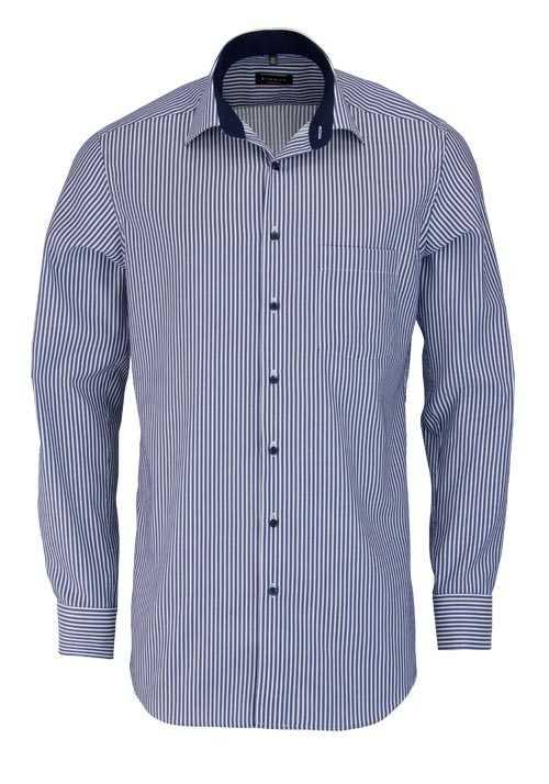 ETERNA Modern Fit Hemd Langarm New Kent Kragen Streifen dunkelblau