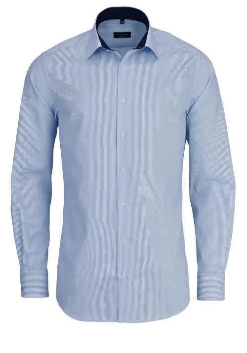 ETERNA Modern Fit Hemd extra langer Arm Streifen hellblau