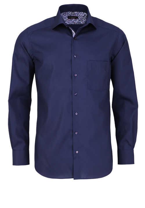 ETERNA Modern Fit Hemd extra langer Arm Brusttasche Patch navy