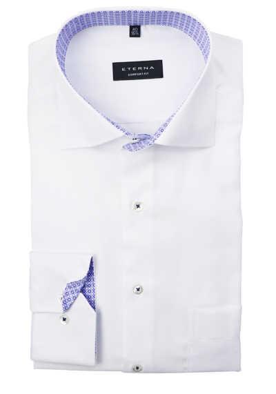 ETERNA Comfort Fit Hemd extra langer Arm Haifischkragen Patch Struktur weiß