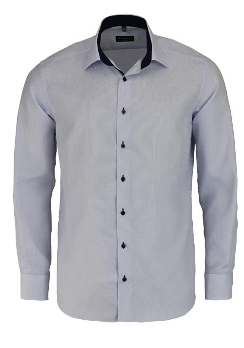 ETERNA Modern Fit Hemd extra langer Arm Besatz Stukur hellblau
