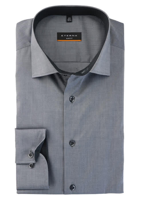 ETERNA Slim Fit Hemd Langarm New Kent Kragen Stretch mittelgrau