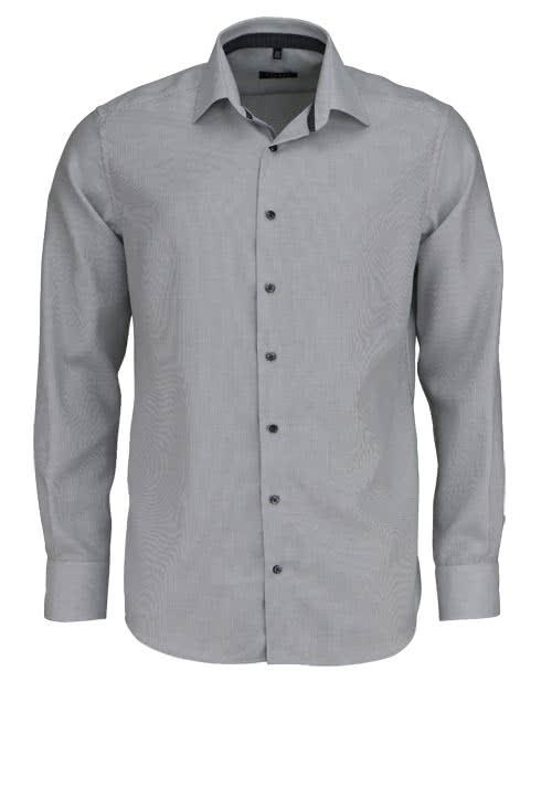 ETERNA Modern Fit Hemd extra langer Arm Twill Streifen grau