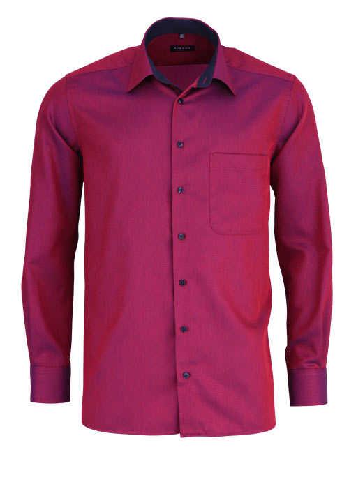 ETERNA Comfort Fit Hemd extra langer Arm Basic Kent Struktur beere