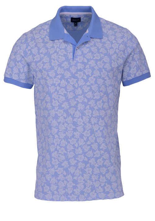 GANT Poloshirt Regular Fit Polokragen Allover Druck Blumen blau