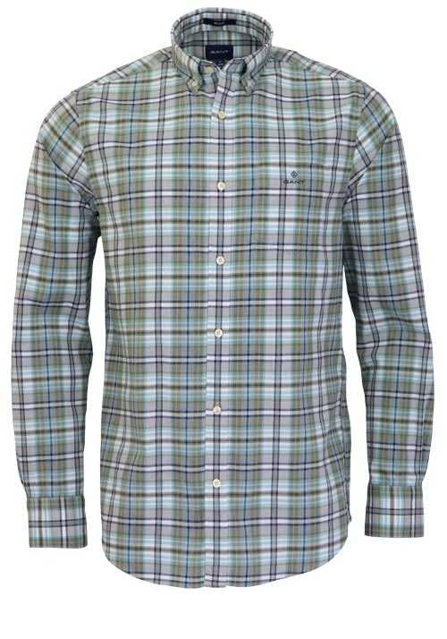 GANT Regular Fit Hemd Langarm Button Down Kragen Karo grün