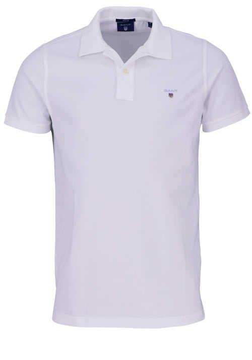 GANT Regular Poloshirt Halbarm geknöpfter Kragen Pique weiß