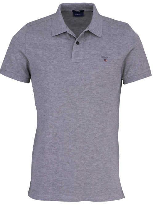 GANT Regular Poloshirt Halbarm geknöpfter Kragen Pique mittelgrau