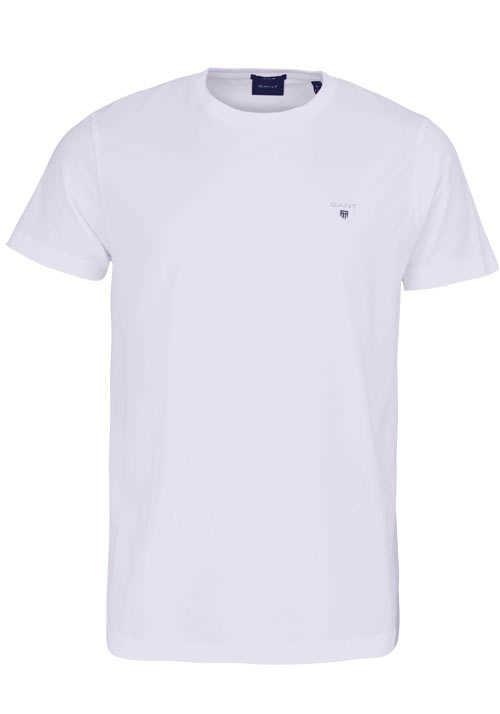 GANT Halbarm T-Shirt Regular Fit Baumwolle Logo-Stick weiß