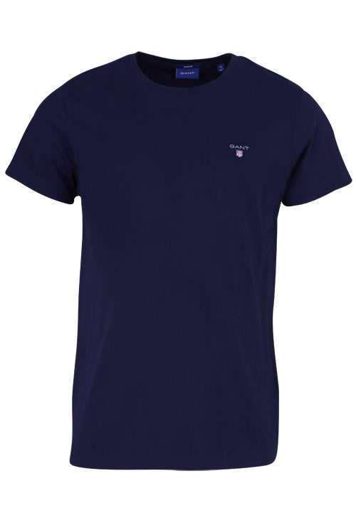 GANT Halbarm T-Shirt Regular Fit Baumwolle Logo-Stick navy
