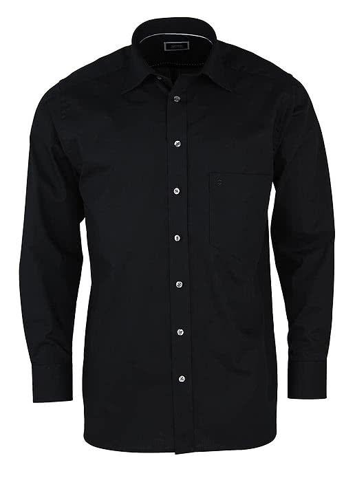 HATICO Regular Fit Hemd Langarm mit Brusttasche schwarz