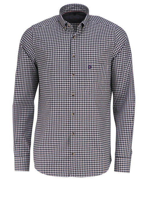 HATICO Modern Fit Hemd Langarm Button Down Kragen Karo schwarz