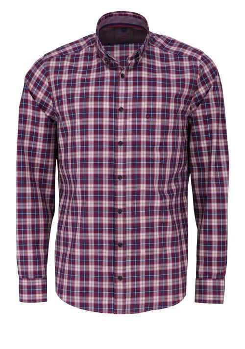 HATICO Modern Fit Hemd Langarm Button Down Kragen Karo rot