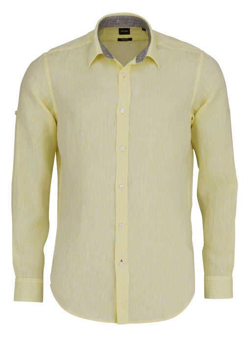 BOSS Regular Fit Hemd LUKAS_53 Langarm geknöpft pastellgelb