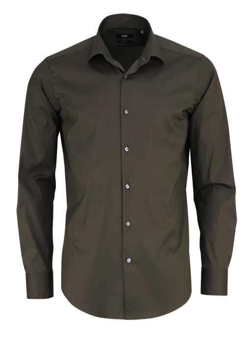 BOSS Regular Fit Hemd GORDON extra langer Arm oliv