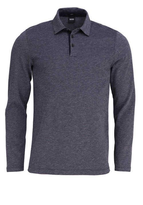 BOSS BUSINESS Langarm Poloshirt PLEINS 06 geknöpfter Kragen dunkelblau