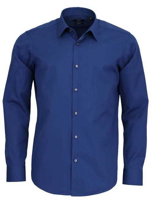 BOSS Regular Fit Hemd ELIOTT Langarm geknöpft dunkelblau