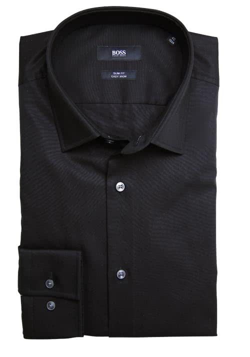 BOSS BUSINESS Slim Fit Hemd Langarm JENNO Popeline schwarz
