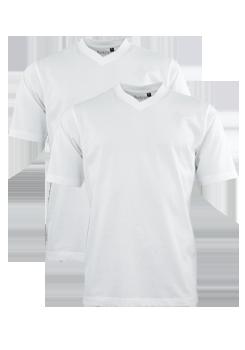 HAJO T-Shirt Doppelpack V-Ausschnitt Uni weiß 22000/4/200