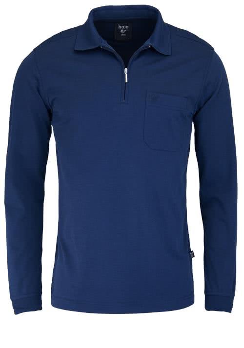 HAJO Softshirt Polo Langarm Polokragen Zipper nachtblau