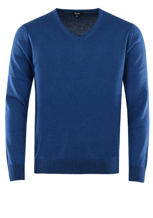 HAJO Pullover V-Ausschnitt Smart Relaxx Langarm mittelblau