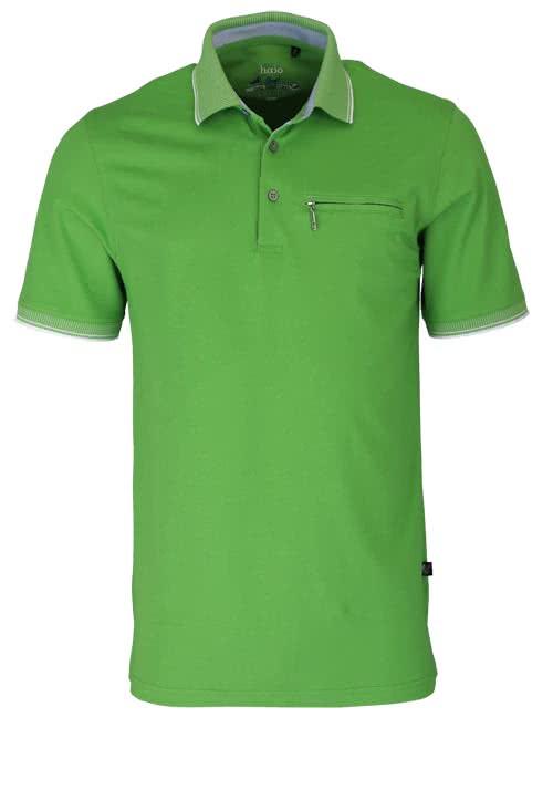 HAJO Poloshirt Kurzarm geknöpft mit Brusttasche Pique apfel