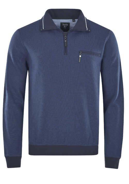 HAJO Sweatshirt Langarm mit Reißverschluss Struktur nachtblau