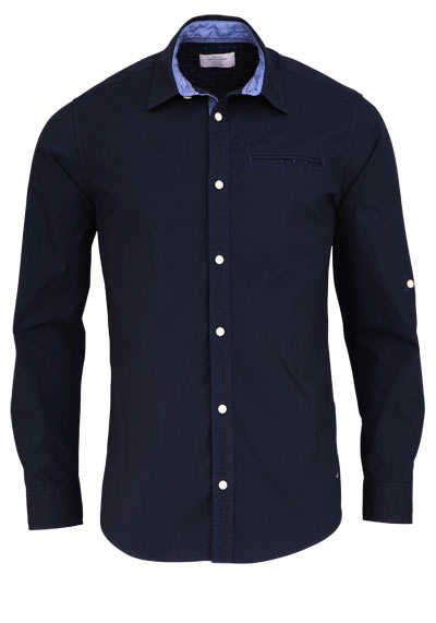 JACK&JONES Slim Fit Hemd TOTAL ECLIPSE Langarm New Kent nachtblau