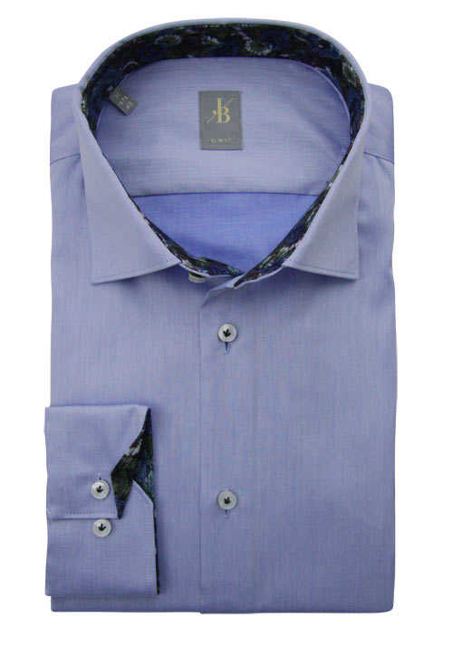 JACQUES BRITT Slim Fit Hemd extra langer Arm New Kent Kragen blau