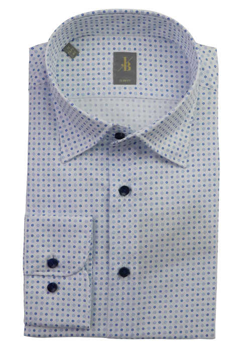 JACQUES BRITT Slim Fit Hemd Langarm Under Button Down Kragen Muster blau
