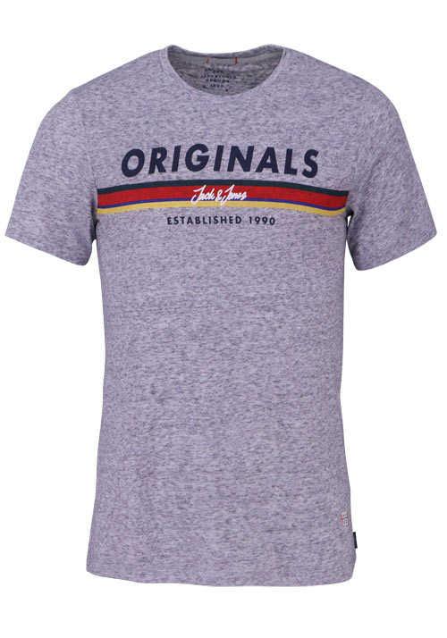 JACK&JONES Halbarm T-Shirt LIGHT GREY Rundhals hellgrau