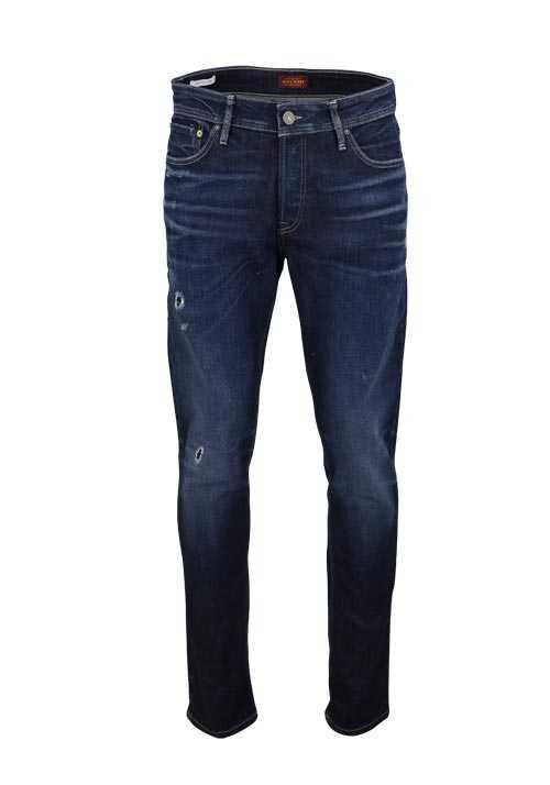 JACK&JONES Slim Fit Jeans BLUE DENIM Used Destroy dunkelblau