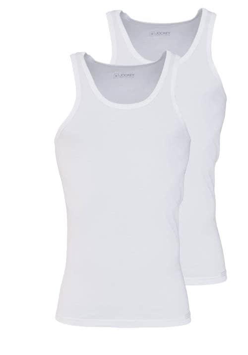 JOCKEY ärmelloses A-Shirt Rundhals Baumwollmischung Doppelpack weiß
