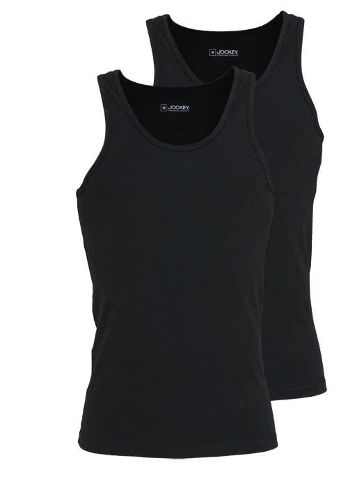 JOCKEY ärmelloses A-Shirt Rundhals Baumwollmischung Doppelpack schwarz
