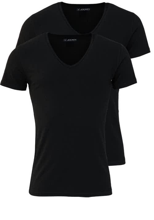 JOCKEY Halbarm Shirt V-NECK Baumwollmischung Doppelpack schwarz