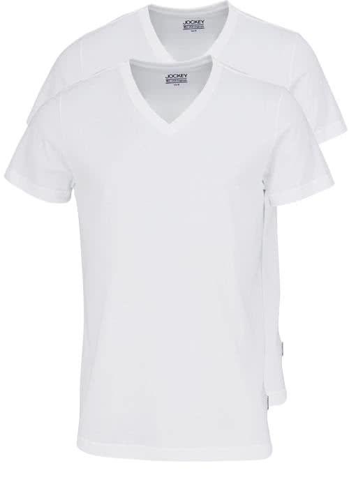 JOCKEY T-Shirt Halbarm V-Ausschnitt Single Jersey weiß