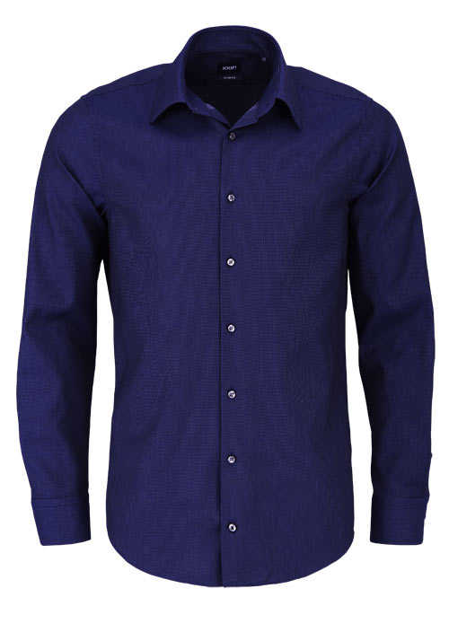 JOOP Slim Fit Hemd PIERCE Langarm New Kent Kragen Struktur blau