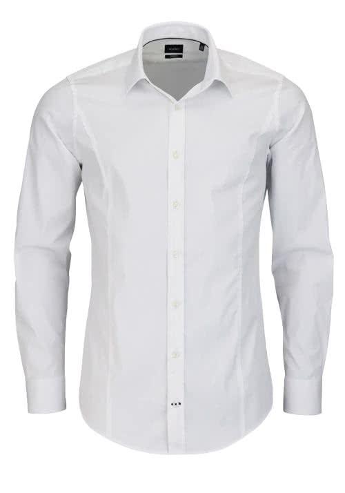JOOP Slim Fit Stretch Hemd VICTOR Langarm New Kent Kragen weiß