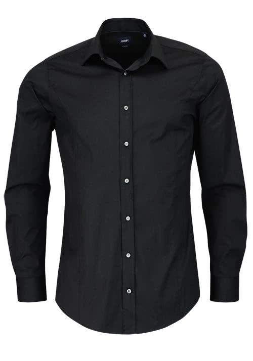 JOOP Slim Fit Stretch Hemd VICTOR Langarm New Kent Kragen schwarz