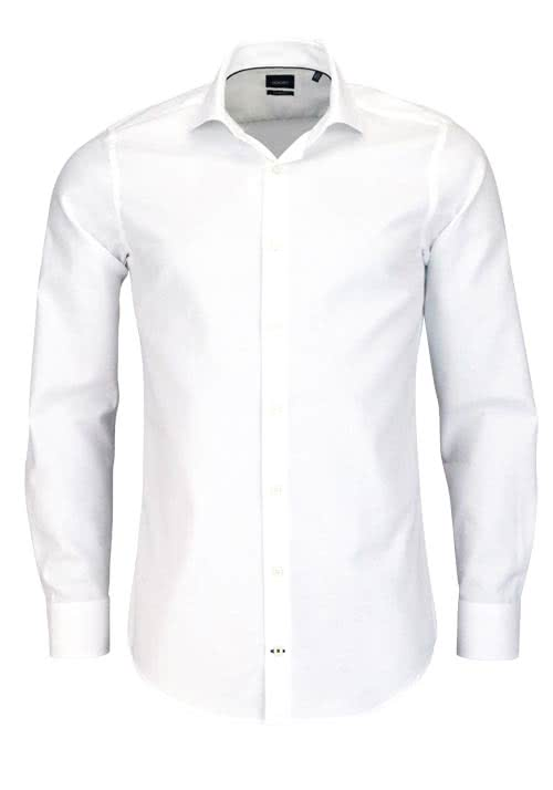 JOOP Slim Fit Hemd PANKO Langarm New Kent Kragen Struktur weiß