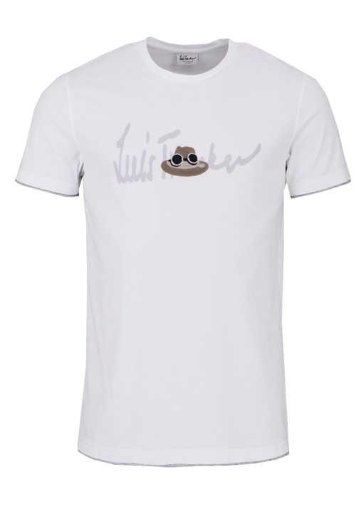 LUIS TRENKER Halbarm T-Shirt CEDRIC Rundhals Schrift-Print weiß