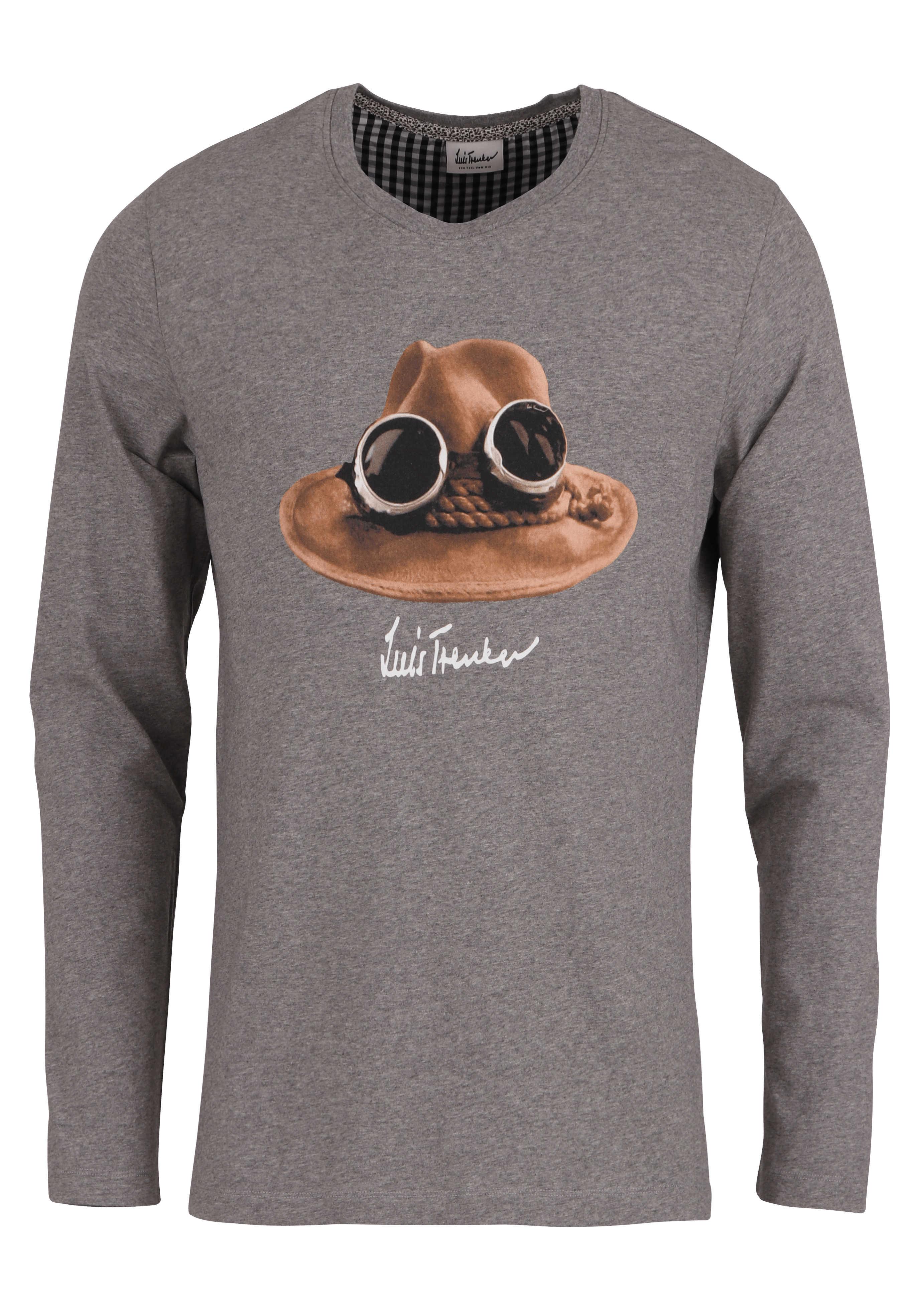 LUIS TRENKER T-Shirt Langarm DER HUT Rundhals mit Druck mittelgrau