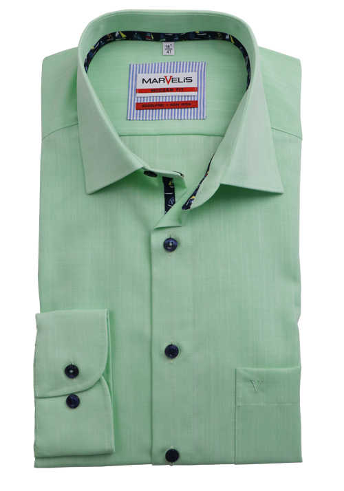 Marvelis Hemd Modern Fit 7288.59.45 grün gemustert extra langer Arm 69 cm