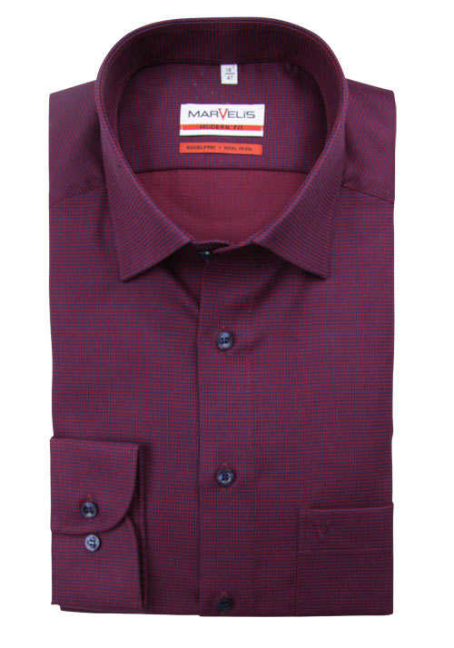 MARVELIS Modern Fit Hemd extra langer Arm Muster rot