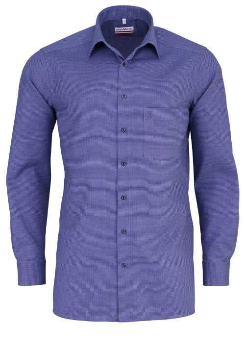 MARVELIS Modern Fit Hemd Langarm New Kent Kragen Muster dunkelblau