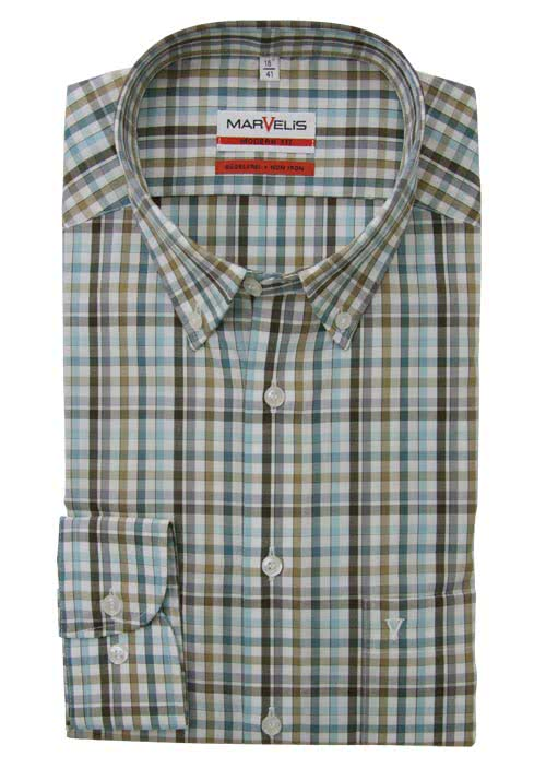 MARVELIS Modern Fit Hemd Langarm Button Down Kragen Karo braun