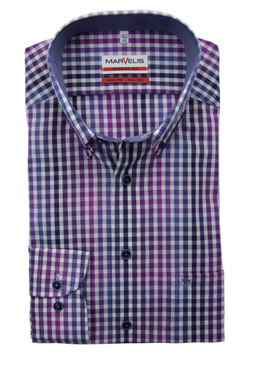 MARVELIS Modern Fit Hemd Langarm Button Down Kragen Karo lila