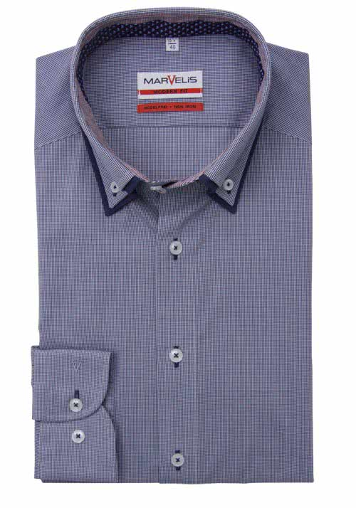 MARVELIS Modern Fit Hemd Langarm Button-Down Karo dunkelblau