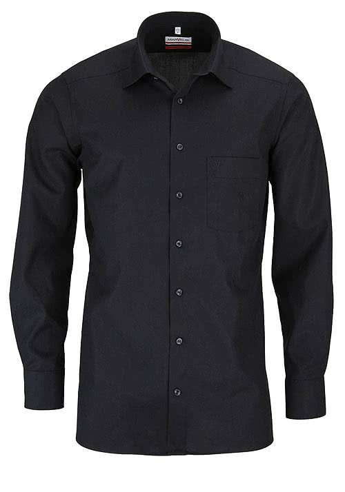 MARVELIS Modern Fit Hemd extra langer Arm Popeline schwarz