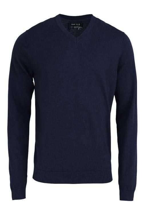MARVELIS Pullover Langarm V-Ausschnitt aus Merino Wolle nachtblau